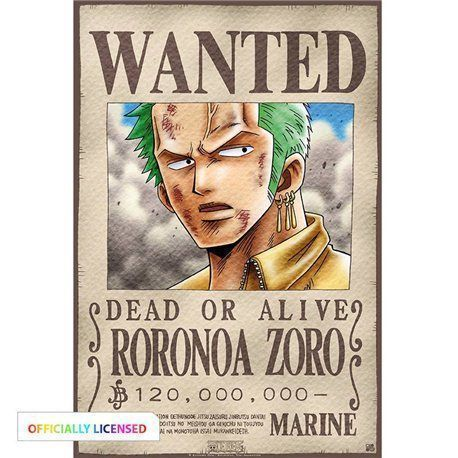 Poster One Piece - Wanted Zoro